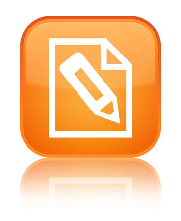 Pencil in page icon isolated on special orange square button reflected abstract illustration