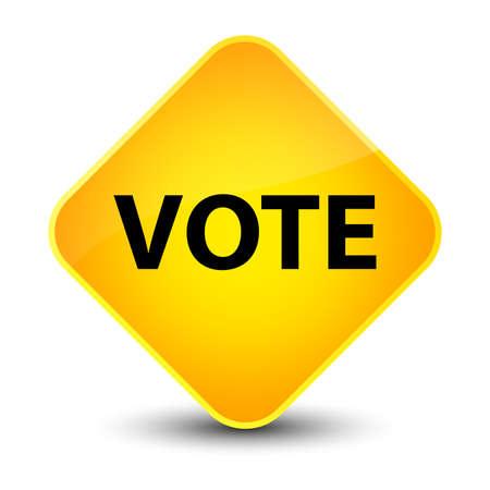 Vote isolated on elegant yellow diamond button abstract illustration