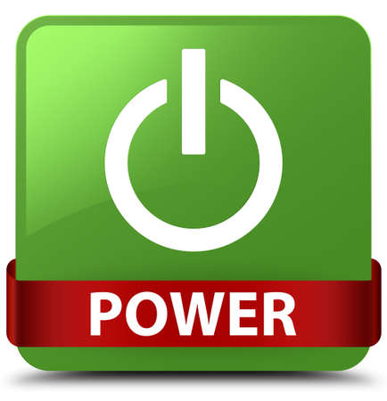 Power isolated on soft green square button with red ribbon in middle abstract illustration Stock Photo