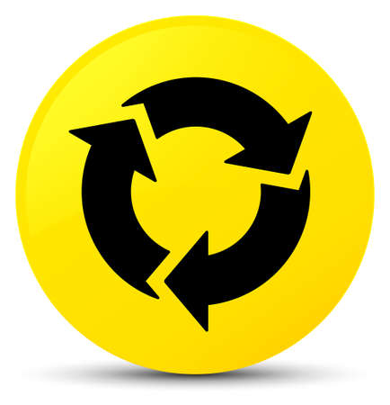 Refresh icon isolated on yellow round button abstract illustration