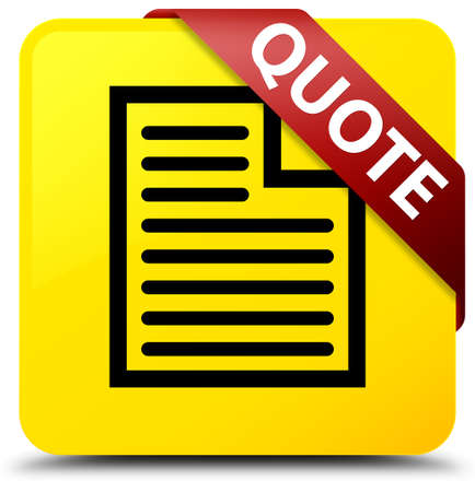 Quote (page icon) isolated on yellow square button with red ribbon in corner abstract illustration Stock Photo