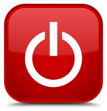 Power icon isolated on special red square button abstract illustration Stock Photo