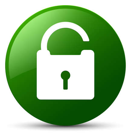 Unlock icon isolated on green round button abstract illustration Banco de Imagens - 89687086