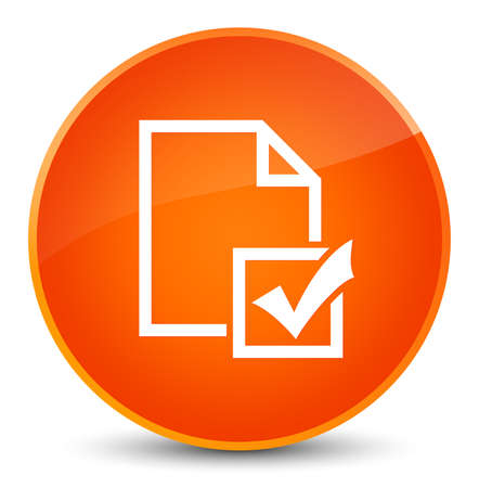 Survey icon isolated on elegant orange round button abstract illustration