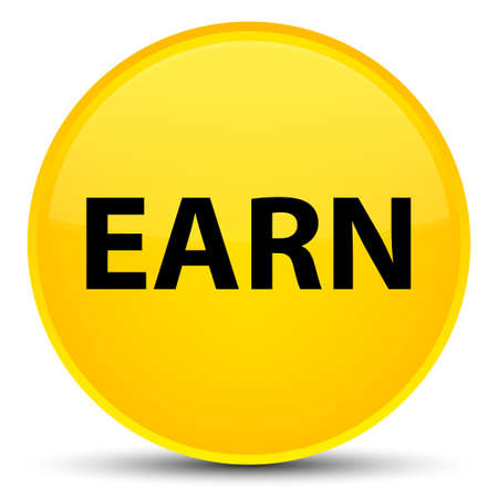 Earn isolated on special yellow round button abstract illustration