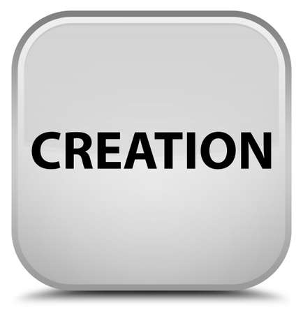 Creation isolated on special white square button abstract illustration Stok Fotoğraf