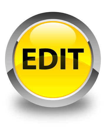 modify: Edit isolated on glossy yellow round button abstract illustration
