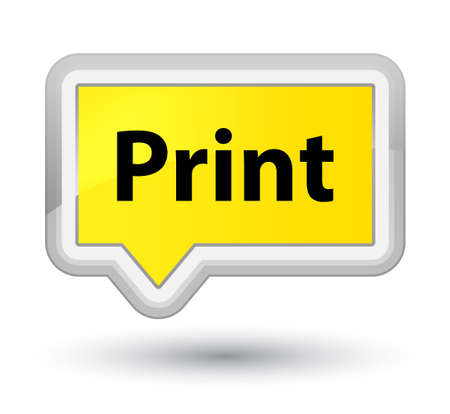プライムイエローバナーボタンの抽象的なイラストに分離された印刷