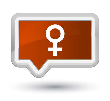 Female sign icon isolated on prime brown banner button abstract illustration