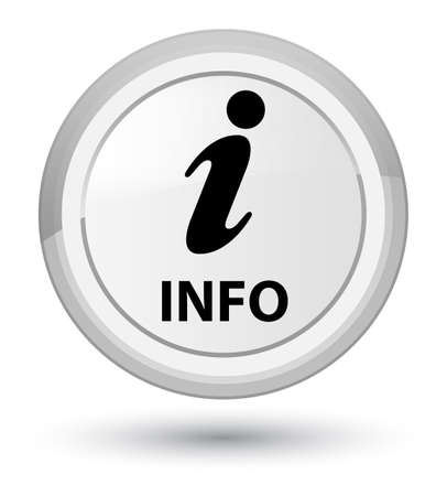 Info isolated on prime white round button abstract illustration Stock Photo
