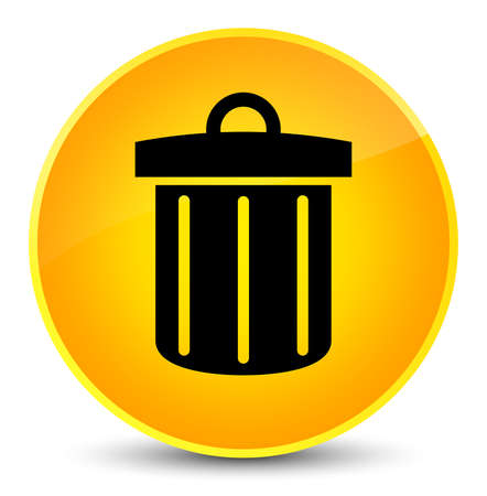 Recycle bin icon isolated on elegant yellow round button abstract illustration