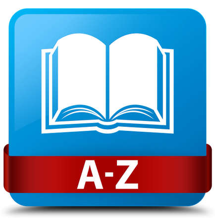 A-Z (book icon) isolated on cyan blue square button with red ribbon in middle abstract illustration