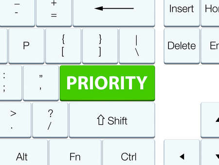 Priority isolated on soft green keyboard button abstract illustration