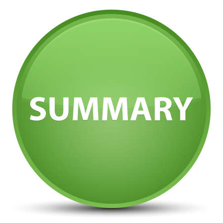 Summary isolated on special soft green round button abstract illustration Stok Fotoğraf