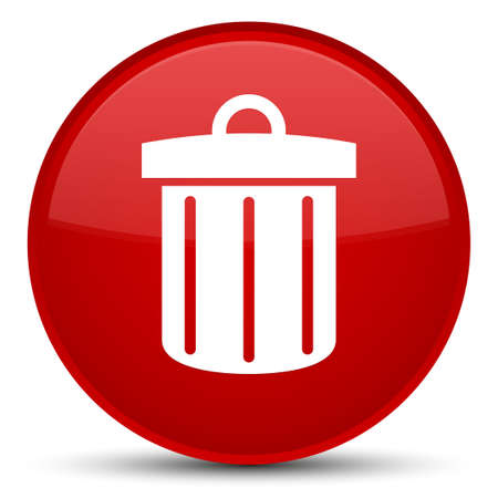 Recycle bin icon isolated on special red round button abstract illustration