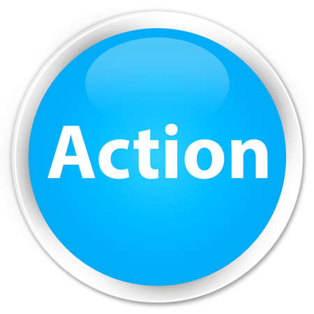 Action isolated on premium cyan blue round button abstract illustration Фото со стока