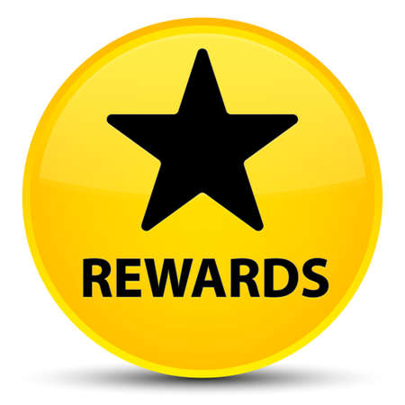 Rewards (star icon) isolated on special yellow round button abstract illustration