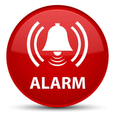 Alarm (bell icon) isolated on special red round button abstract illustration