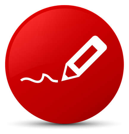 Sign up icon isolated on red round button abstract illustration Stock Photo