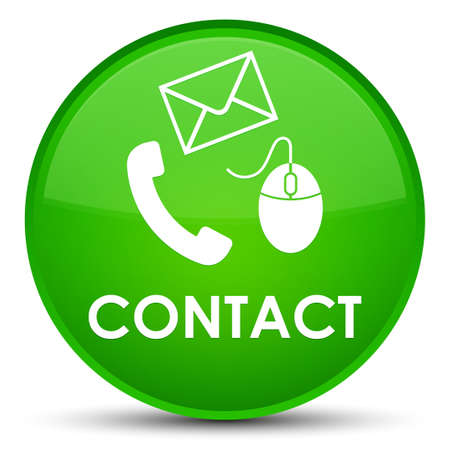 Contact (phone email and mouse icon) green isolated on special round button abstract illustration