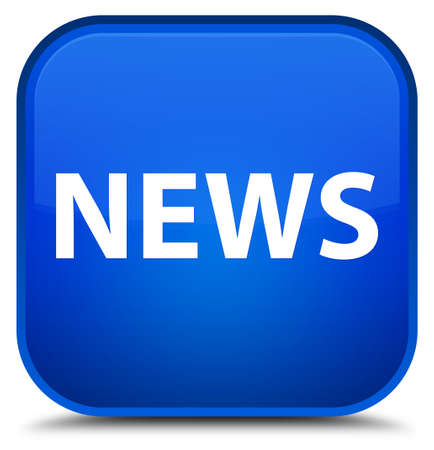 News isolated on special blue square button abstract illustration