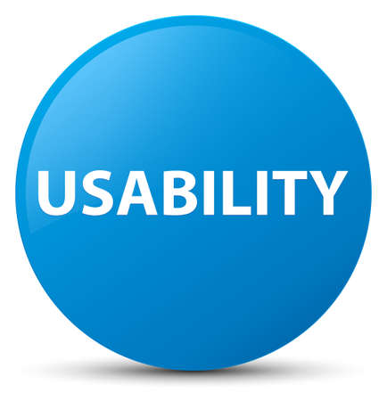 Usability isolated on cyan blue round button abstract illustration Stock Photo