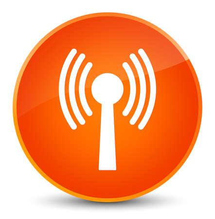 Icône de réseau WLAN isolé sur une illustration abstraite élégante bouton rond orange Banque d'images - 89617895