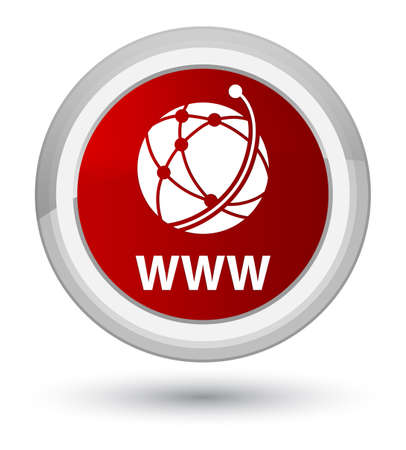 WWW (global network icon) isolated on prime red round button abstract illustration