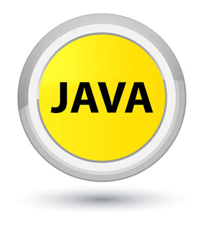 Java isolated on prime yellow round button abstract illustration