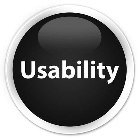 Usability isolated on premium black round button abstract illustration Stock Photo
