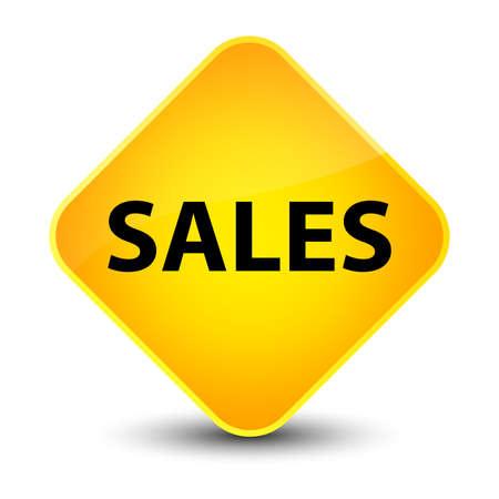 Sales isolated on elegant yellow diamond button abstract illustration