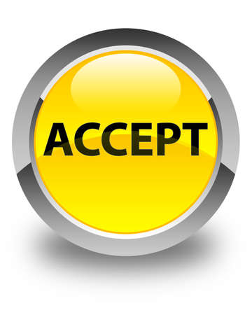 Accept isolated on glossy yellow round button abstract illustration Stock Photo