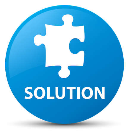 Solution (puzzle icon) isolated on cyan blue round button abstract illustration Stock Photo
