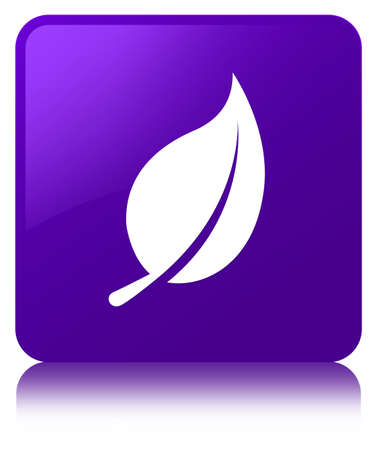Leaf icon isolated on purple square button reflected abstract illustration