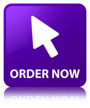 Order now (cursor icon) isolated on purple square button reflected abstract illustration Stock Photo