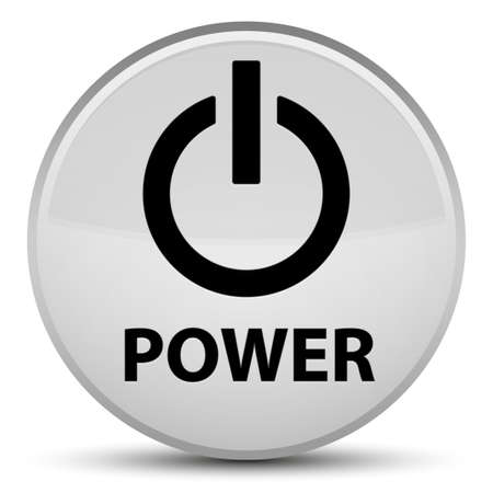 Power isolated on special white round button abstract illustration