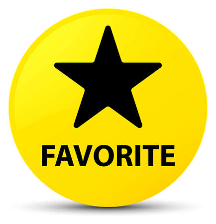 Favorite (star icon) isolated on yellow round button abstract illustration