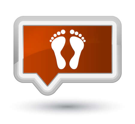 Footprint icon isolated on prime brown banner button abstract illustration Stock Photo