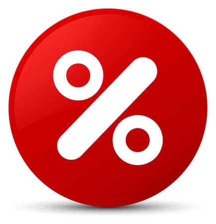 Discount icon isolated on red round button abstract illustration