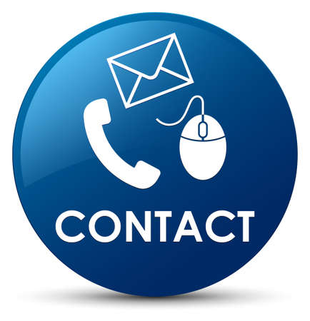 Contact (phone email and mouse icon) blue isolated on round button abstract illustration
