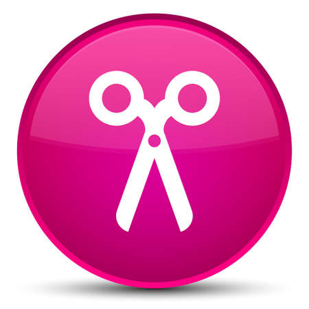 Scissors icon isolated on special pink round button abstract illustration