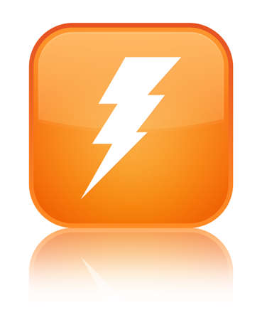 Electricity icon isolated on special orange square button reflected abstract illustration