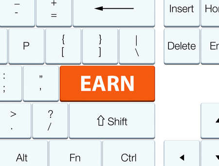 Earn isolated on orange keyboard button abstract illustration 版權商用圖片