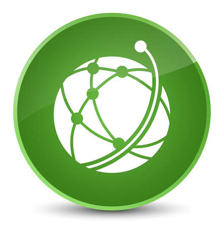 Global network icon isolated on elegant soft green round button abstract illustration