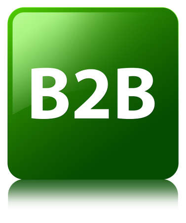 B2b isolated on green square button reflected abstract illustration Stock Photo