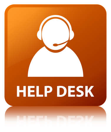 Help desk (customer care icon) isolated on brown square button reflected abstract illustration