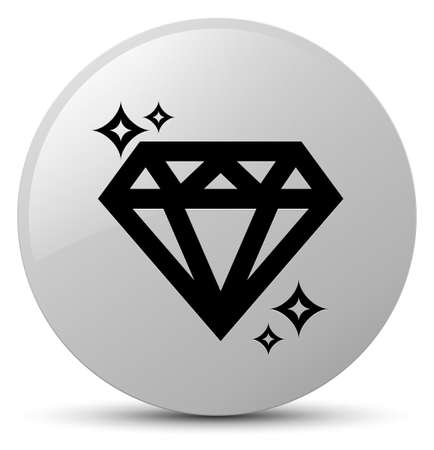crystal button: Diamond icon isolated on white round button abstract illustration