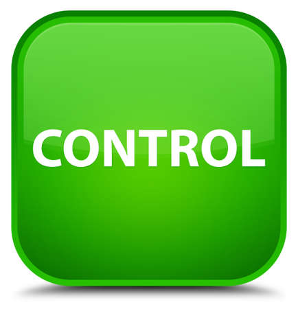 Control isolated on special green square button abstract illustration