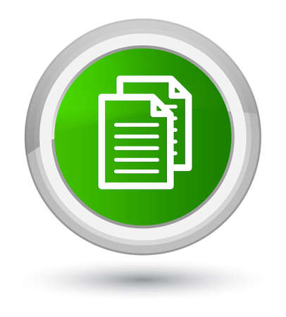 Documents icon isolated on prime green round button abstract illustration