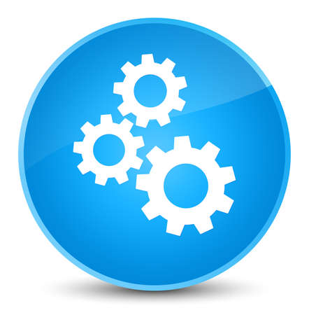 Gears icon isolated on elegant cyan blue round button abstract illustration
